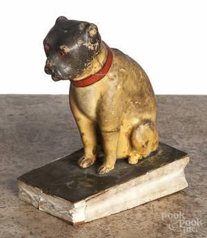 Composition bulldog squeak toy