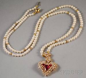 18kt Gold Diamond Ruby and Cultured Pearl Necklace