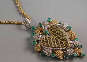 Large 14kt Gold Emerald and Diamond Heart Pendant