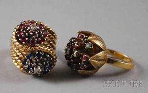 Two Gold Gemset Floral Rings