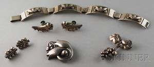 Small Group of Mostly Georg Jensen Sterling Silver Jewelry