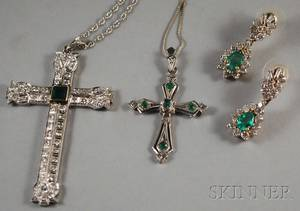 Two Gold Diamond and Emerald Cross Pendants and a Pair of Earrings