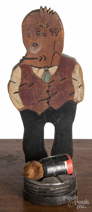Painted pine figure of Jiggs shoe polish brush holder