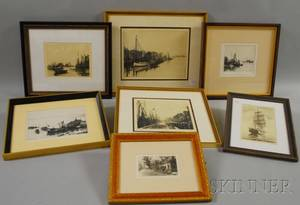 Six Framed Leonard H Mersky Cape Cod and Islands Etchings and a Framed John Sunshine Print Depicting the Sailing Ship Morgan