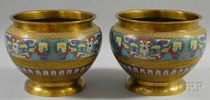 Pair of Chinese Brass and Champleve Jardinieres