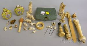 Group of Carved Ivory Figures and Other Articles and a Pair of Chinese Famille Jaune Porcelain Snuff Bottles