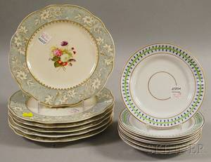 Set of Eight Paris Porcelain Saucers a Pair of Paris Classicaldecorated Cups and Saucers and a Set of Six English Gilt Tr
