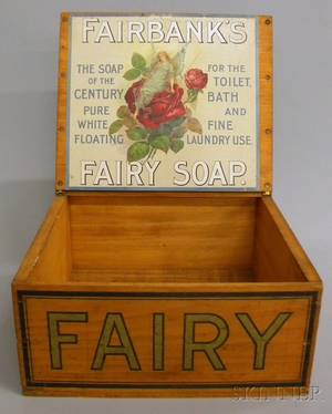 FAIRY Fairbanks Pure White Floating Soap Painted Retail Countertop Advertising Lidded Wooden Display Box
