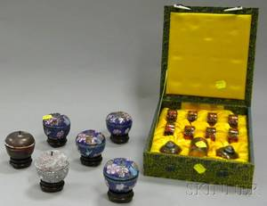 Chinese Presentation Boxed Elevenpiece Cloisonne Table Set and a Boxed Set of Six Chinese Cloisonne Process Samples