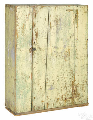 New England painted pine wall cupboard 19th c