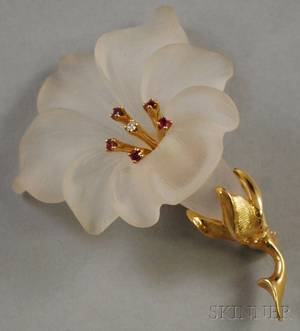 14kt Gold Frosted Crystal Ruby and Diamond Flower Brooch