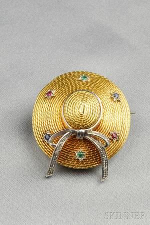 18kt Gold Gemset Hat Brooch
