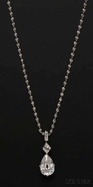 Important Art Deco Platinum and Diamond Pendant Necklace Cartier
