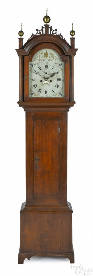 Concord New Hampshire Chippendale cherry tall case clock late 18th c