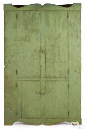 New England painted pine corner cupboard early 19th c
