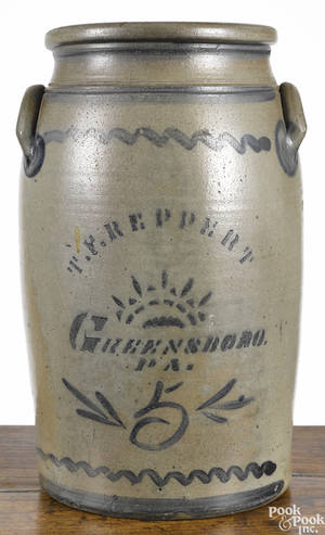 Pennsylvania fivegallon stoneware churn 19th c