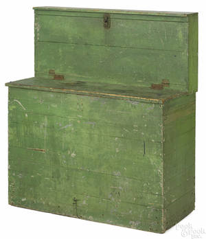 Unusual New England painted pine feed bin 19th c