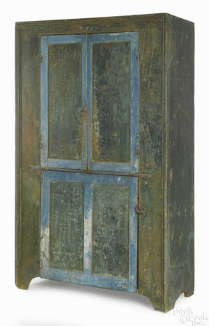 New England painted pine wall cupboard early 19th c