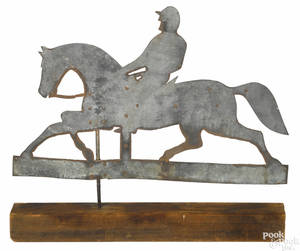 Zinc weathervane of a horse and rider early 20th c