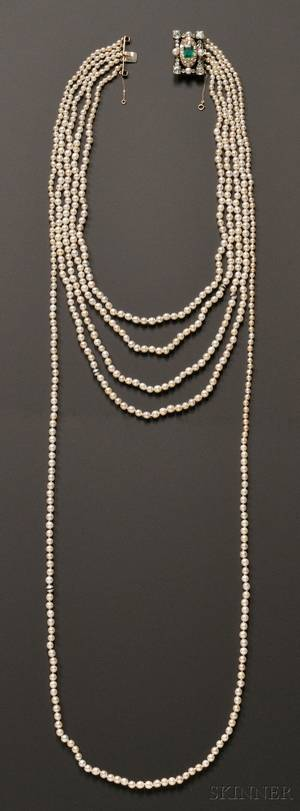 Important Natural Pearl Fivestrand Necklace