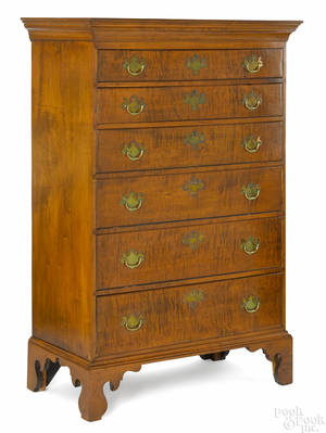 New England Queen Anne tiger maple semitall chest ca 1770