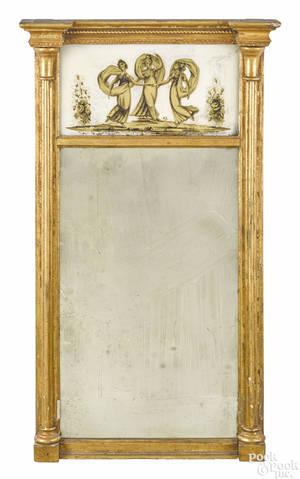 Boston Massachusetts Federal giltwood looking glass ca 1806