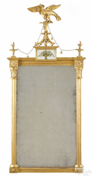 Fully carved Federal giltwood mirror with eagle crest ca 1810