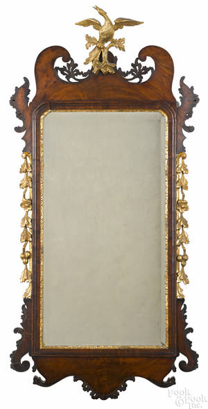 Chippendale mahogany and parcel gilt mirror 18th c