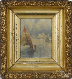 Oil on canvasboard coastal scene