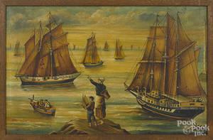 Oil on board harbor scene