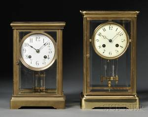 Two Crystal Regulator Mantel Clocks