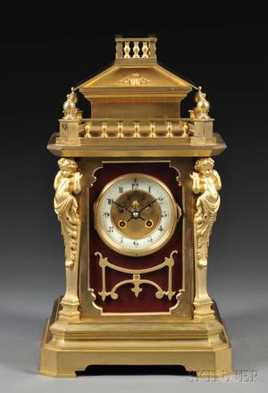 French Giltbrass Mantel Clock