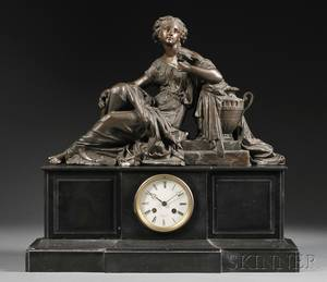 French Figural Slate Mantel Clock
