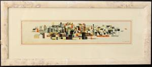 Modern City Skyline Watercolor Signed