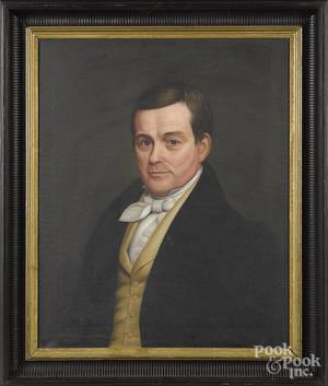American oil on canvas portrait of a gentleman