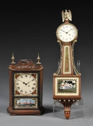Two Waltham Miniature Mahogany Wall Clocks