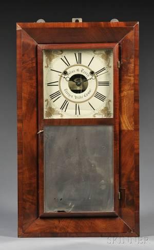Silas B Terry Mahogany Beveled Case Shelf Clock