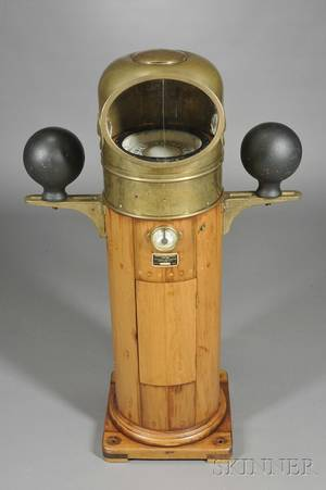 Walnut and Brass Ships Compensating Binnacle