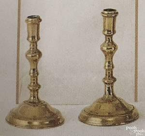 Pair of English Queen Anne brass candlesticks ca 1725