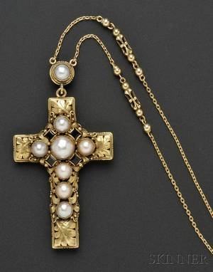 Arts  Crafts Gold Opal and Pearl Cross and Chain Edward Oakes