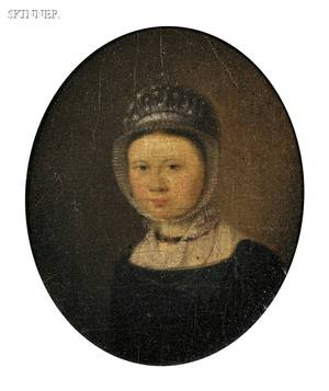 Dutch School 18th Century Portrait of a Young Woman in a White Bonnet