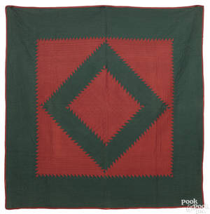 Lancaster County Pennsylvania Amish sawtooth diamond quilt late 19th c