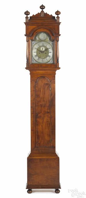 Frank Auspitz York Pennsylvania Queen Anne style cherry tall clock case housing