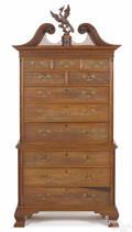 Frank Auspitz York Pennsylvania Chippendale style walnut threepart chest on chest