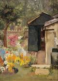 Mary Dawson Elwell British 18741952 View of a Summer Garden with Shed