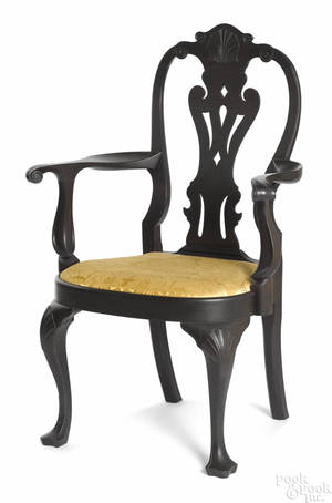 Frank Auspitz York Pennsylvania Queen Anne style walnut armchair