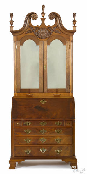 Frank Auspitz York Pennsylvania Chippendale style walnut secretary desk and bookcase