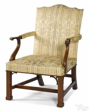 Frank Auspitz York Pennsylvania Chippendale style walnut open armchair
