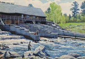 Aiden Lassell Ripley American 18961969 Middle Dam on the Rapid River Western Maine