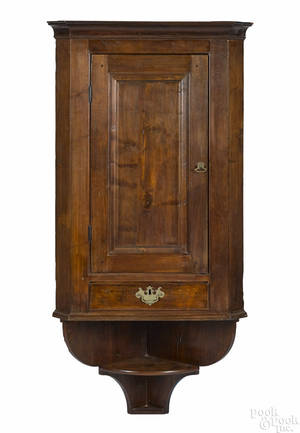 Pennsylvania walnut hanging corner cupboard ca 1800